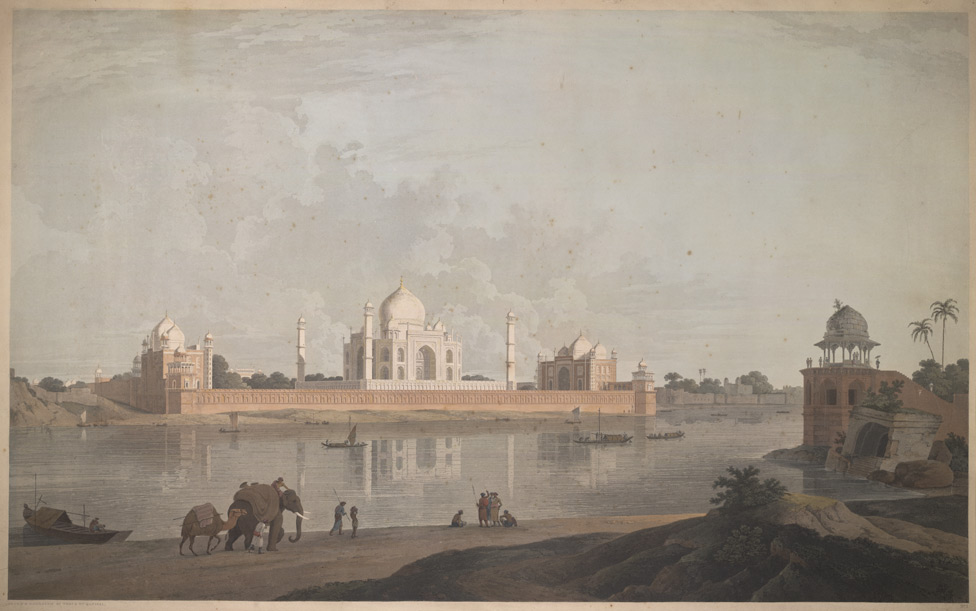 'The Taje Mahel, Agra'. Aquatint, drawn and engraved by Thomas and William Daniell. Published T Daniell, London, 1801
